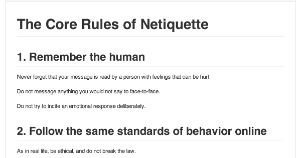 core rules of netiquette: how to behave online